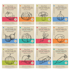 Hand drawn vegetables posters set vector