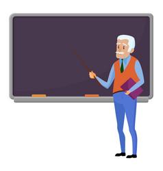 senior teacher professor standing near blackboard vector image