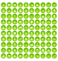 100 beard icons set green circle vector