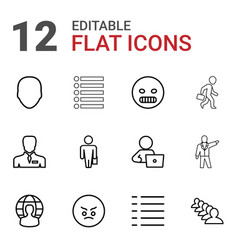12 user icons vector