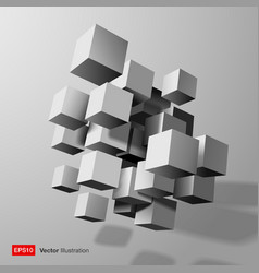 Abstract composition of white 3d cubes vector