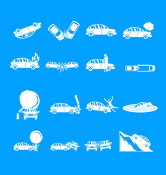 accident car crash case icons set simple style vector image