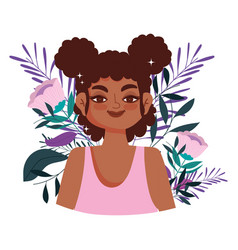 afro american woman character flowers portrait vector image