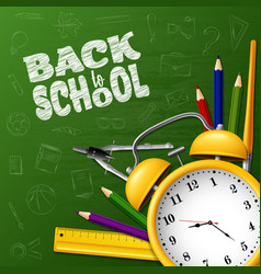back to school with school supplies and doodles vector image