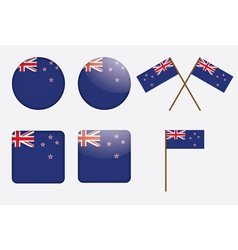 badges with flag of New Zealand vector image