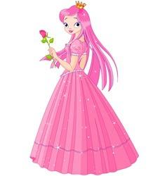Beautiful pink princess with rose vector