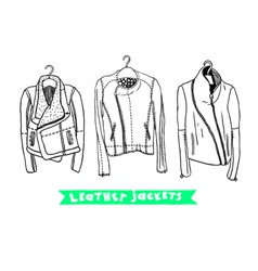 Black and white set with original leather jackets vector image