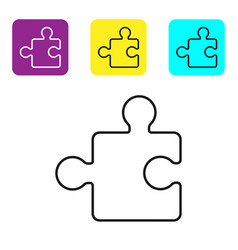 Black line piece puzzle icon isolated on white vector