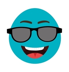 Blue cartoon face with sunglasses graphic vector