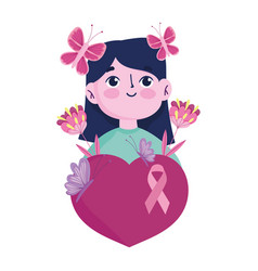 breast cancer awareness month portrait girl vector image