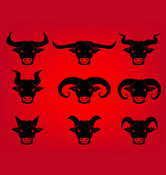 buffalo and bull head icons in tattoo style vector image