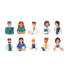 bundle friendly doctors wearing white coats and vector image