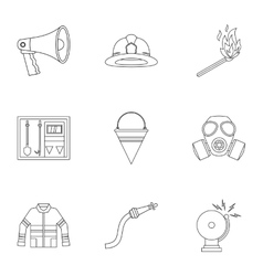 Burning icons set outline style vector