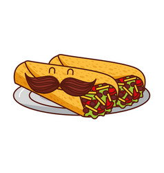 Burritos cartoon mustache mexican food traditional vector