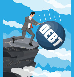 Businessman pushing debt weight out mountain vector