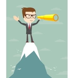 Businessman stand on top of mountain looking for vector