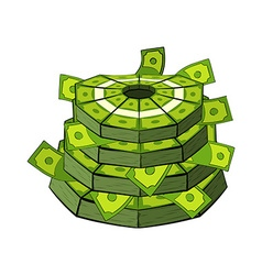 Cake of money Cash as festive cake Bundles of vector image