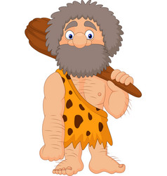 cartoon caveman holding club vector image
