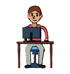 cartoon young boy uses computer desk chair design vector image