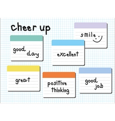 Cheer up wording post it white vector