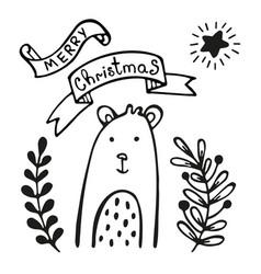 christmas greeting card with bear vector image