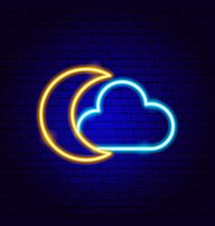 cloud moon neon sign vector image