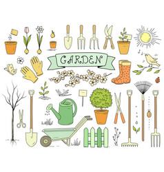 Colorful hand drawn garden tools set vector