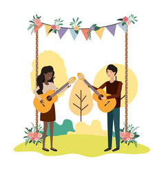Couple with musical instrument in landscape vector