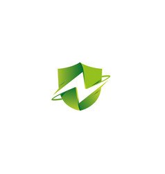 creative green shield thunder logo vector image