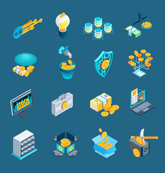 Cryptocurrency blockchain isometric icons vector
