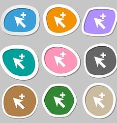 Cursor arrow plus add icon sign Multicolored paper vector