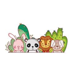cute animals little lion rabbit panda dog cartoon vector image