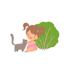 Cute happy girl playing with cat adorable little vector