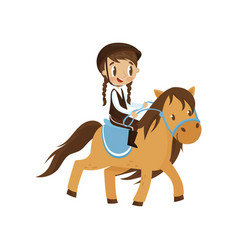 cute litlle girl riding a horse equestrian sport vector image