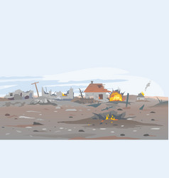 Destroyed village landscape background vector
