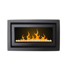 Electric fireplace with imitation burning fire vector