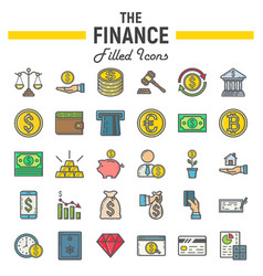 finance filled outline icon set business signs vector image
