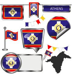 Flag athens greece vector