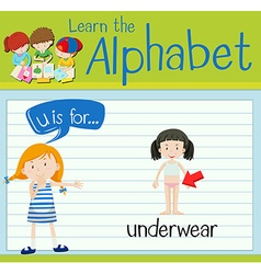 Flashcard letter u is for underwear vector