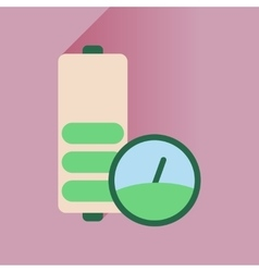 Flat icon with long shadow battery level vector