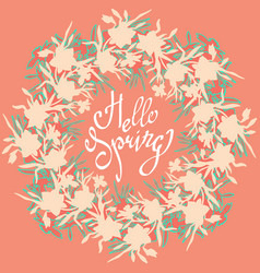 floral beautiful wreath on coral color background vector image