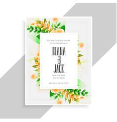 Flower decoration beautiful wedding card design vector