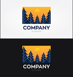 Forest with sun concept logo vector
