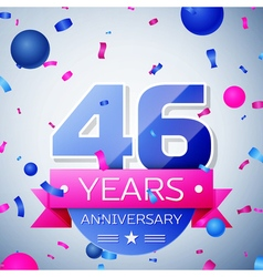 Forty six years anniversary celebration on grey vector image