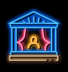 Greek ancient theater neon glow icon vector
