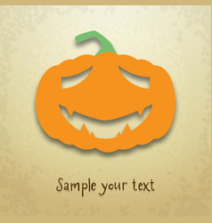 halloween card with sad pumpkin vector image