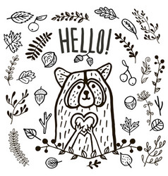 hand drawn cute raccoon hello vector image