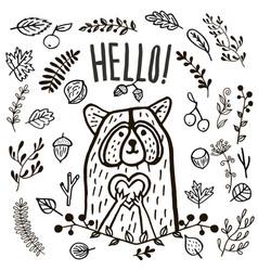 hand drawn cute raccoon hello vector image