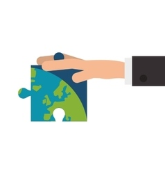 Hand holding puzzle piece of earth icon vector