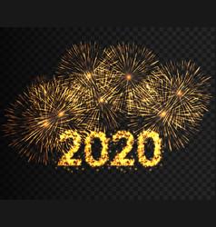 happy new year 2020 golden firework background vector image